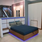 Спальня синяя подсветка